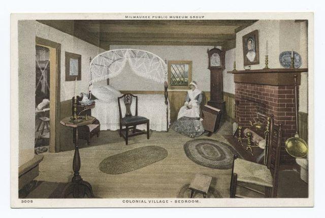 Colonial Village - Bedroom, Milwaukee Public Museum Group, Milwaukee, Wisc.