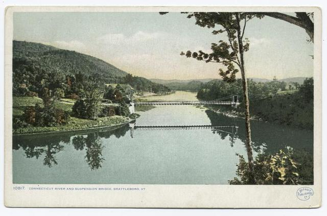 Connecticut River and Suspension Bridge, Brattleboro, Vt.