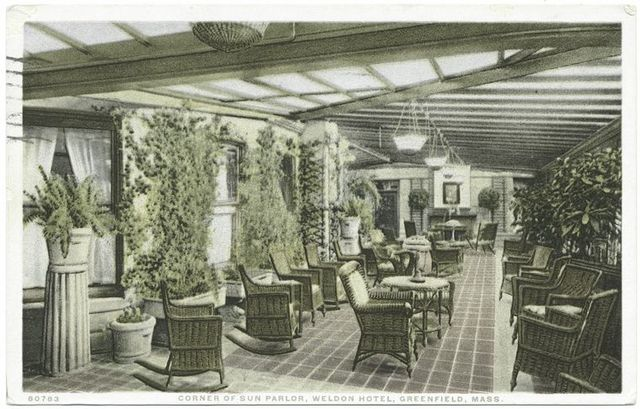 Corner of Sun Parlor, Weldon Hotel, Greenfield, Mass.