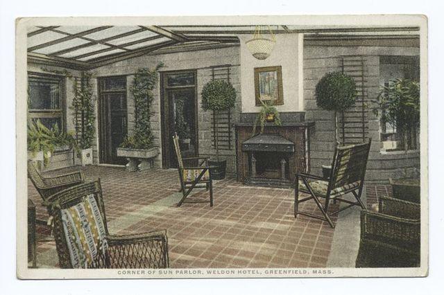 Corner of Sun Parlor, Weldon Hotel, Greenfield, Mass.