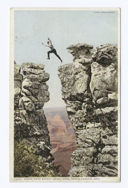 Daring Jump of a Forest Ranger, near Bright Angel Cove, Arizona