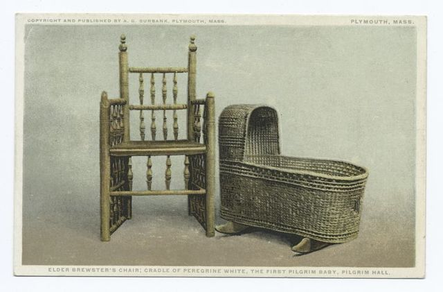 Elder Brewster's Chair; Cradle of Peregrine White, The First Pilgrim Baby, Pilgrim Hall, Plymouth, Mass.