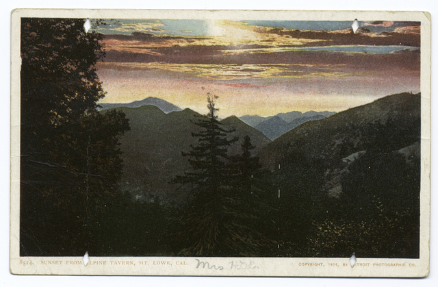 Evening from Alpine Tavern (or Sunset), Mt. Lowe, Calif.