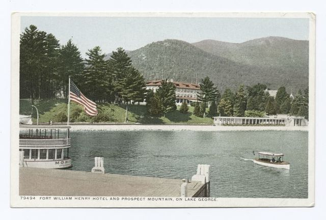 Fort William Henry Hotel and Prospect Mountain on Lake George