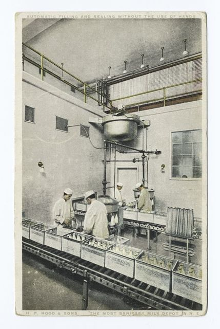 H. P. Hood & Sons, The Most Sanitary Milk Depot in N. E. , Automatic Filling and Sealing without the use of hands