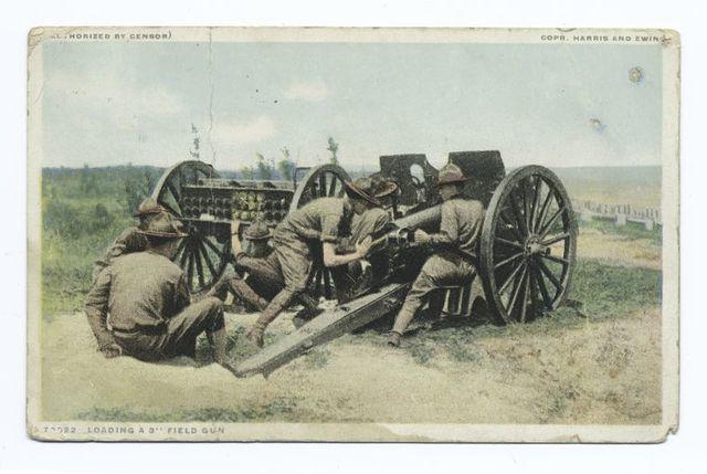 """Loading a 3"""" Field Gun, World War I"""