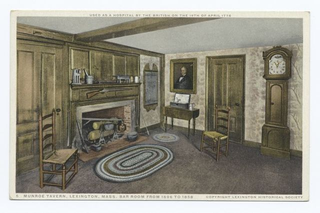 Monroe Tavern, Lexington, Mass., Bar Room from 1696 to 1858, Used as Hospital by the British on the 19th of April 1775