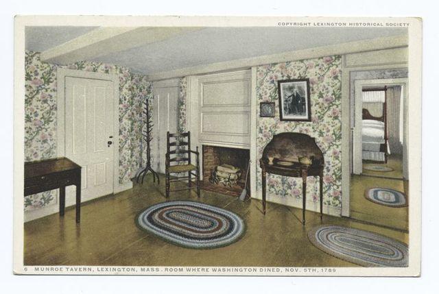 Munroe Tavern Lexington, Mass. Room where Washington Dined, Nov. 5th, 1789.
