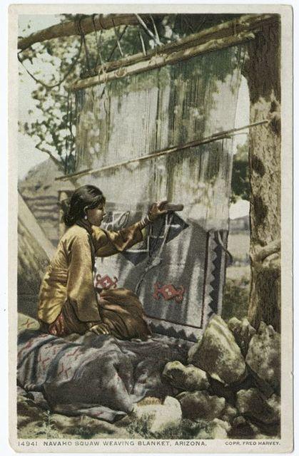 Navaho Woman Weaving Blanket, Arizona
