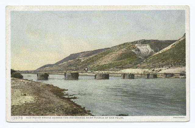 Old Indian Bridge across Rio Grande, Pueblo San Felipe, New Mexico