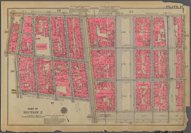 Plate 19, Part of Section 2: [Bounded by E. Houston Street, Orchard Street, Delancey Street, Bowery, Spring Street, Lafayette Street, Prince Street and Crosby Street]