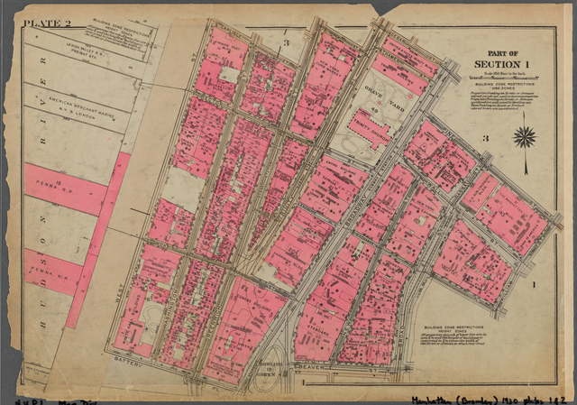 Plate 2, Part of Section 1: [Bounded by Carlisle Street, Greenwich Street, Thames Street, Trinity Place, Cedar Street, Broadway, Pine Street, William Street, Exchange Place, Broad Street, Beaver Street, Battery Place and (Hudson River Piers) West Street]