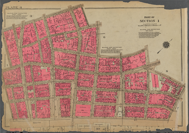 Plate 4, Part of Section 1: [Bounded by William Street, Ann Street, Gold Street, Beekman Street, Cliff Street, Dover Street, Cherry Street, Roosevelt Street, South Street, Pine Street, Pearl Street and Cedar Street]