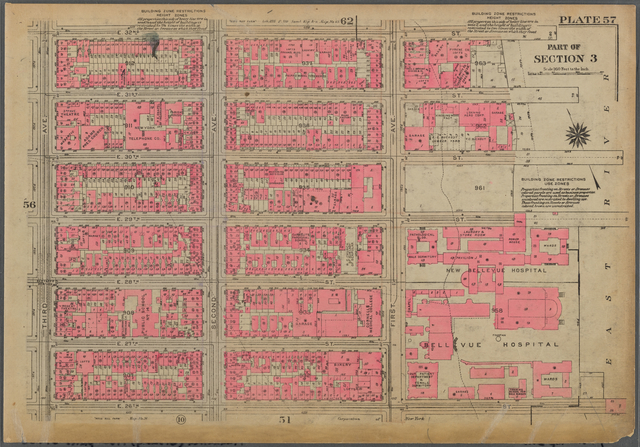 Plate 57, Part of Section 3: [Bounded by E. 32nd Street, (East River Piers) First Avenue, E. 26th Street and Third Avenue]