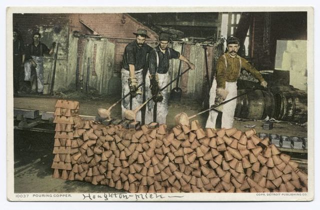Pouring Copper, Quincy Smelter, Hancock, Mich.