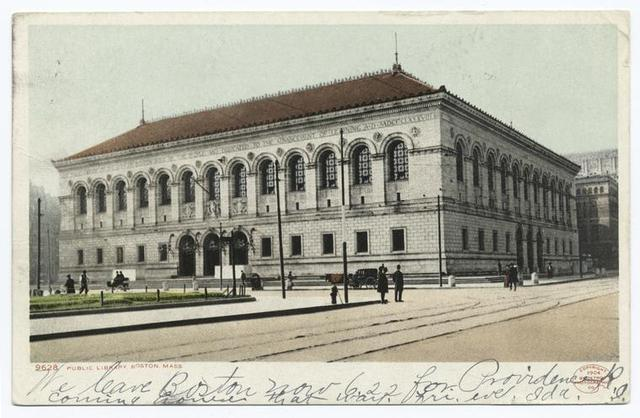Public Library, Front View, Boston, Mass.