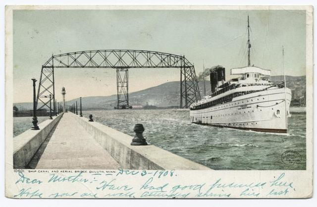 Ship Canal and Aerial Bridge, Duluth, Minn.