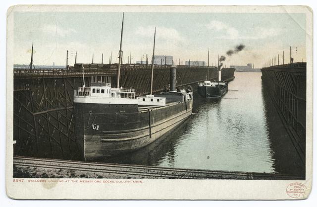 Steamers Loading at Mesabi Ore Docks, Duluth, Minn.