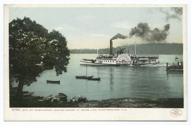 Str. Mt. Washington Leaving Wharf, Weirs, Lake Winnipesaukee, N. H.