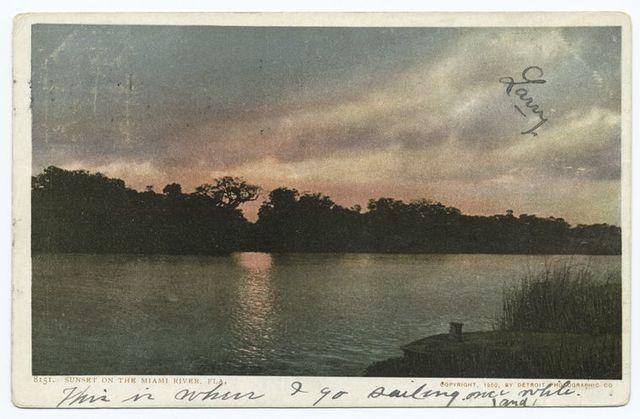 Sunset on Miami River (on Moonlight), Florida.