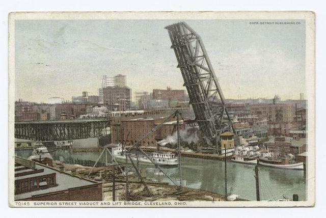 Superior Street Viaduct and Lift Bridge, Cleveland, Ohio.