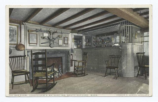 The Bar Room, Longfellow's, Wayside Inn, South Sudbury, Mass., Edward R. Lemon, Landlord