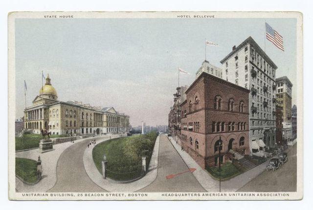 Unitarian Building, 25 Beacon Street Boston, Headquarters American Unitarian Association, State House, Hotel Bellevue