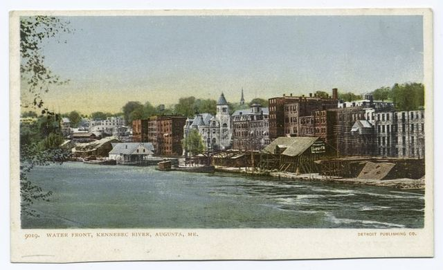 Waterfront, Kennebec River,  Augusta, Me.