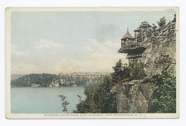Wildmere House from Cliff Stairway, Lake Minnewaska, N.Y.