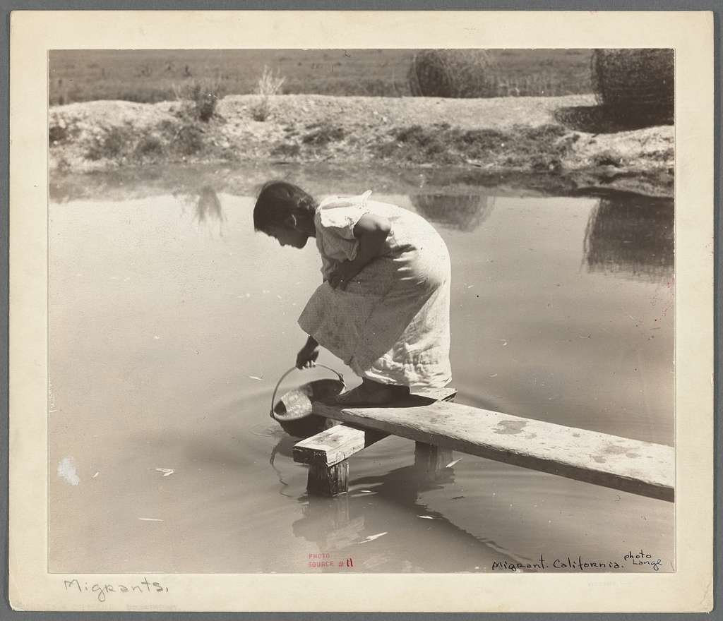 Drinking water for field worker's family. Imperial Valley, California, near El Centro
