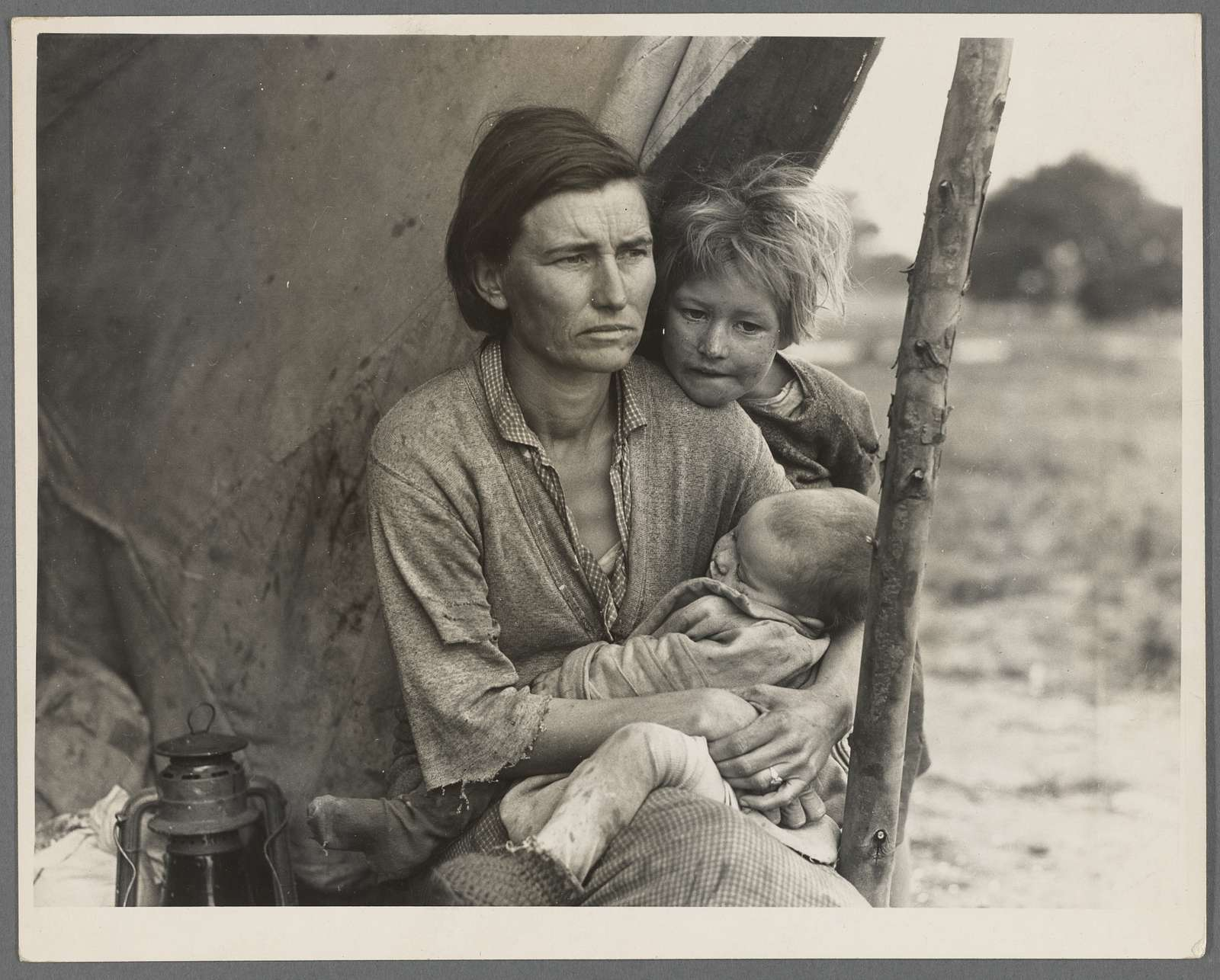 Migrant agricultural worker's family. Seven hungry children. Mother aged thirty-two. Father is a native Californian. Destitute in pea picker's camp, Nipomo, California, because of the failure of the early pea crop. ...