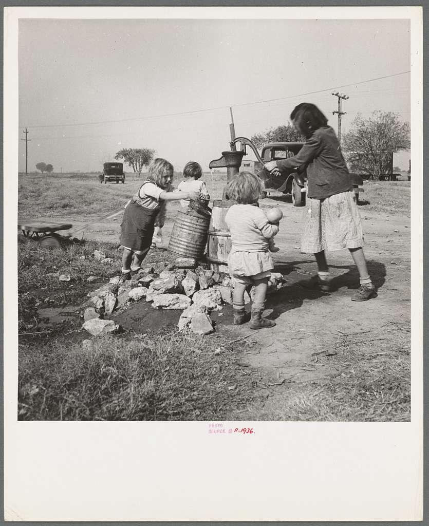 Water supply. Migratory camp for cotton pickers. San Joaquin Valley, California. American River camp
