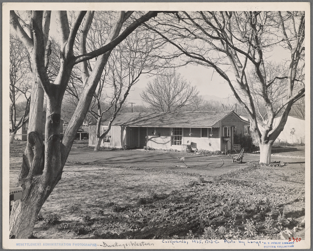 El Monte Federal Subsistence Homesteads. 100 homes-all occupied. Each with 3/4 acre. Average family income $800 per yr. Feb. 1936.