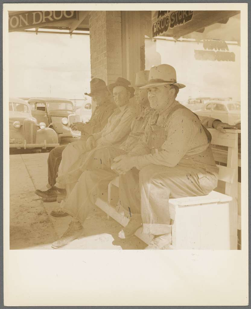 Dust bowl farmers of west Texas in town