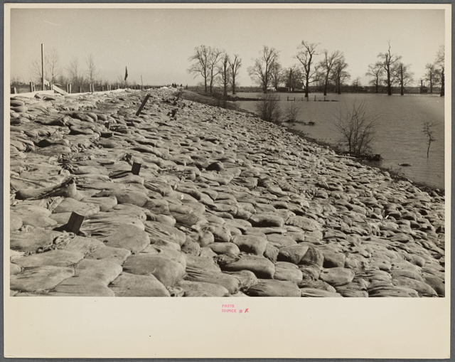 The Bessie Levee augmented with sand bags during the 1937 flood near Tiptonville, Tennessee