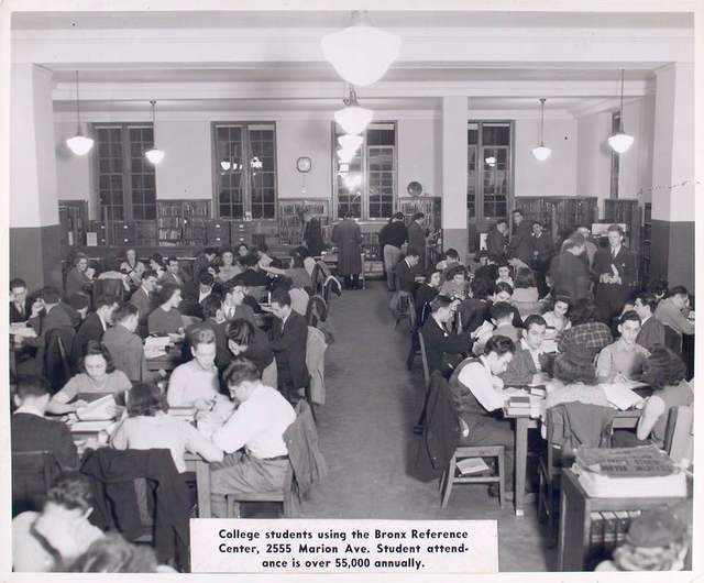 College students using the Bronx Reference Center, 2555 Marion Ave. Student attendance is over 55,000 annually.