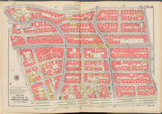 Double Page Plate No. 12, Part of Section 11, Borough of the Bronx: [Bounded by Harrison Avenue, W. 181st Street, E. 181st Street, Grand Concourse, Mt. Hope Place, Jerome Avenue, W. 177th Street and W. Tremont Avenue]