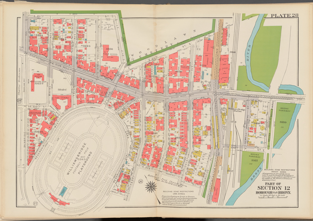 Double Page Plate No. 28, Part of Section 12, Borough of the Bronx: [Bounded by E. 211th Street, Webster Avenue, E. Gun Hill Road, Bronx Boulevard, Bronx River, E. 209th Street, Perry Avenue, Holt Place, Reservoir Oval East, Reservoir Oval West and Bainbridge Avenue]