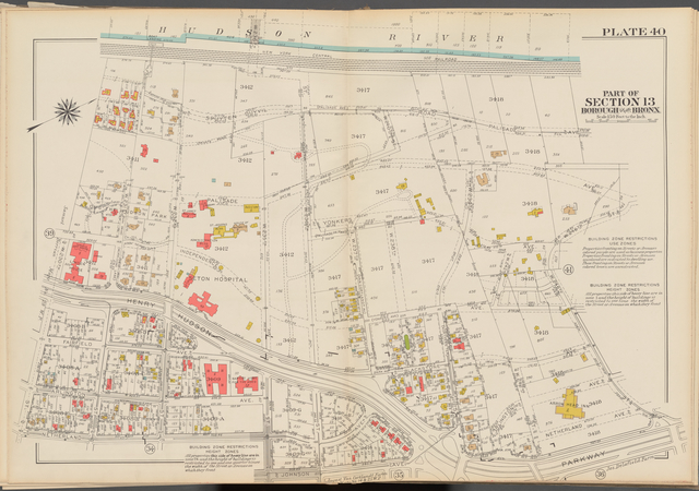 Double Page Plate No. 40, Part of Section 13, Borough of the Bronx: [Bounded by (Hudson River) Spuyten Duyvil Road, Palisade Avenue, W. 246th Street, Henry Hudson Parkway, Johnson Avenue, W. 235th Street, Netherland Avenue and W. 230th Street]