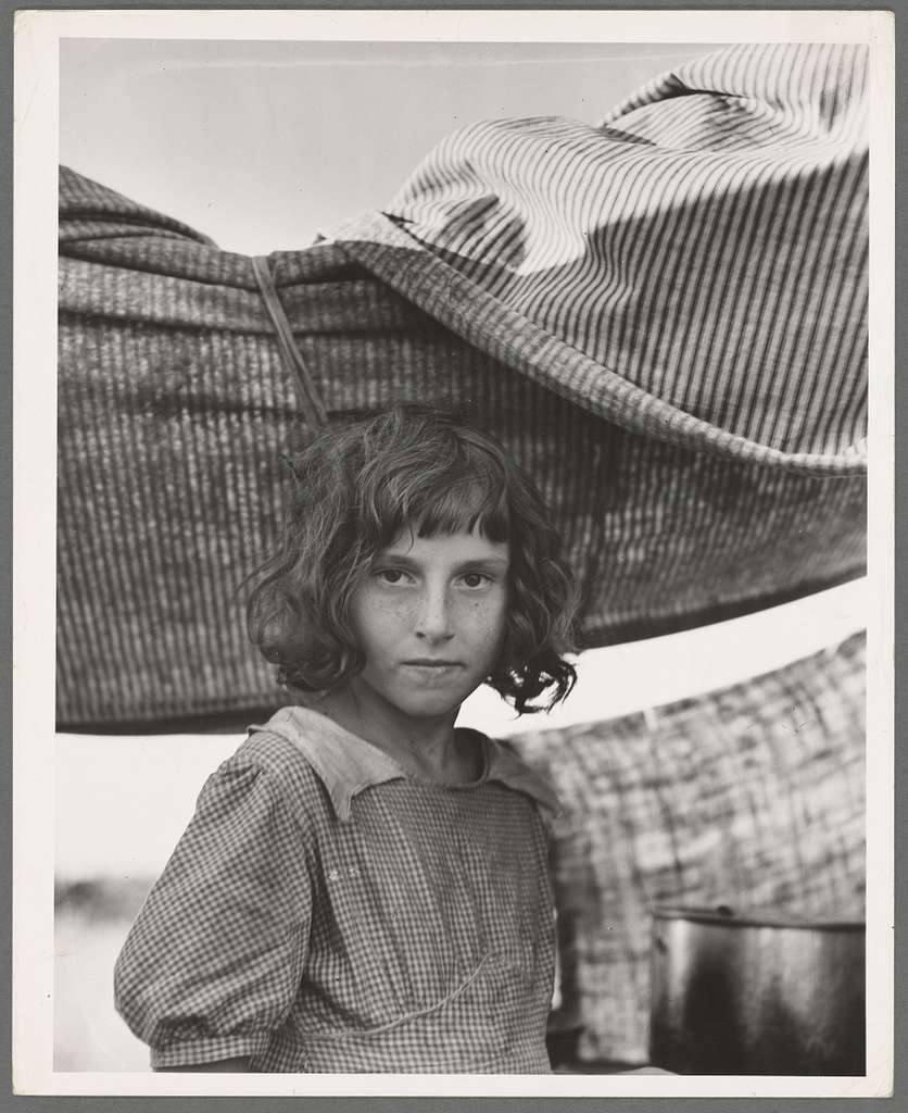 Migratory child in camp at end of day. Bean pickers' camp near West Stayton, Oregon. See general caption number 46