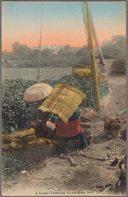 A farmer drawing water from well.