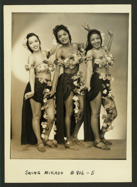 """The Publicity photo of three unidentified actresses as  the """"Three Little Maids"""" from the stage production The Swing Mikado."""