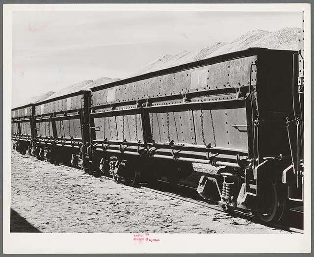 Carloads of potash at potash mine in Eddy County, New Mexico