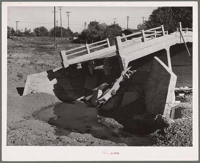 Detail of bridge washed out by recent flood of Sacramento River in Tehama County, California