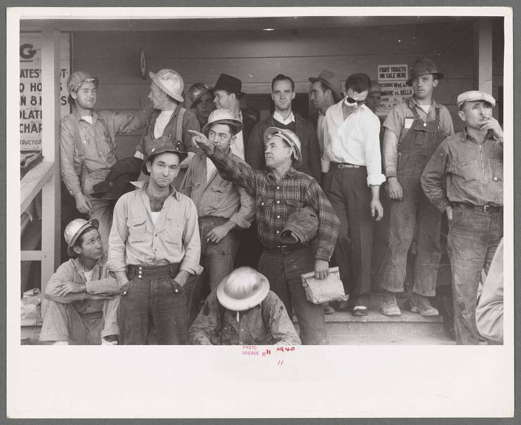 Construction workers on front porch of commissary, Shasta Dam, Shasta County, California