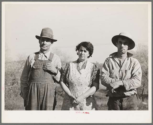 """Fruit farmer, his wife and son. Placer County, California. He has owned his eighty acre farm for about thirty-four years. """"It's pretty but what's it good for? The trees aren't worth the land they stand on,"""" he says"""