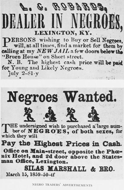 Negro traders' advertisements.
