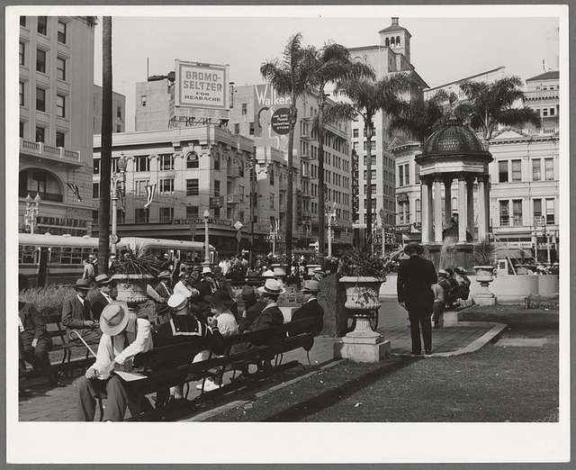 View of square in midtown. San Diego, California