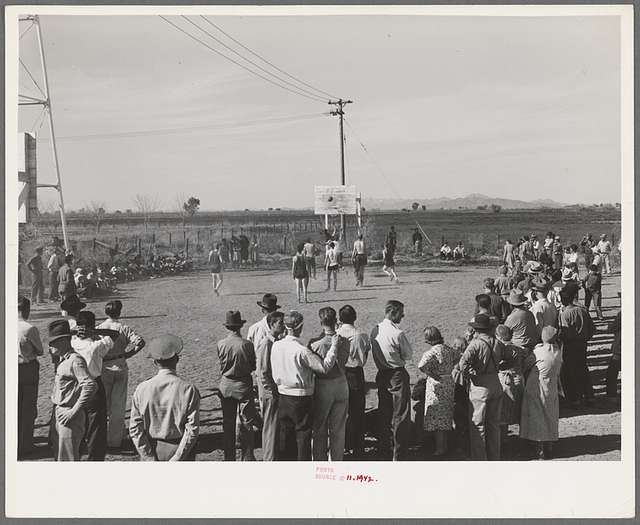 Basketball game at the second annual field day at the FSA (Farm Security Administration) farm workers' community. Yuma, Arizona