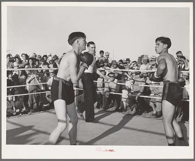 Boxing match at the second annual Field Day at the FSA Farm Workers Community, Yuma , Arizona